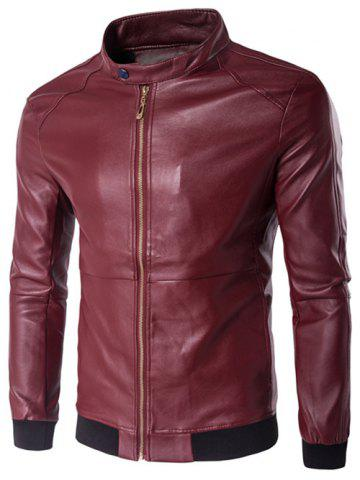 Store Stand Collar Rib Splicing Zip-Up Plus Size PU-Leather Jacket WINE RED 5XL