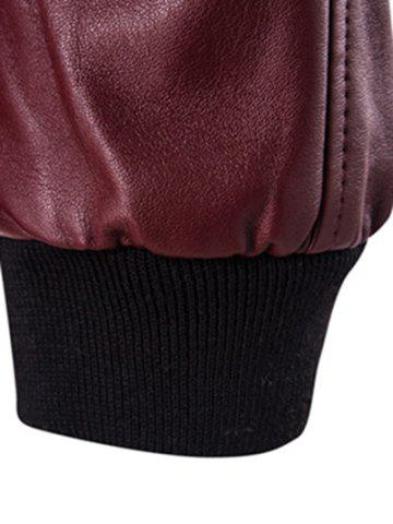 Fashion Stand Collar Rib Splicing Zip-Up Plus Size PU-Leather Jacket - 2XL WINE RED Mobile