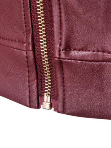 Cheap Stand Collar Rib Splicing Zip-Up Plus Size PU-Leather Jacket - 2XL WINE RED Mobile