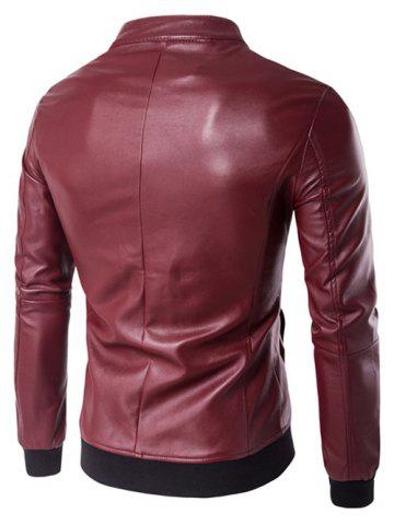 Latest Stand Collar Rib Splicing Zip-Up Plus Size PU-Leather Jacket - 2XL WINE RED Mobile