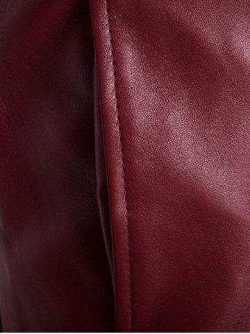 Fancy Stand Collar Rib Splicing Zip-Up Plus Size PU-Leather Jacket - 2XL WINE RED Mobile