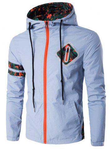 Hooded Camouflage Stripe Drawstring Zip-Up Plus Size Jacket - BLUE GRAY 4XL