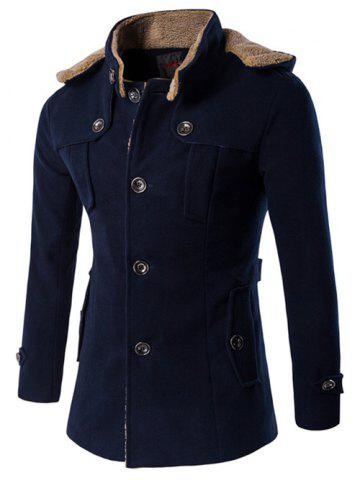 Buy Plus Size Hooded Fleece Single-Breasted Woolen Coat CADETBLUE M