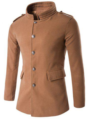 Unique Plus Size Stand Collar Epaulet Single-Breasted Woolen Coat CAMEL 5XL