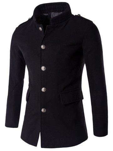 Sale Plus Size Stand Collar Epaulet Single-Breasted Woolen Coat BLACK 5XL