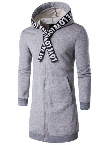 Sale Plus Size Zip Up Selvedge Embellished Hooded Coat GRAY 5XL