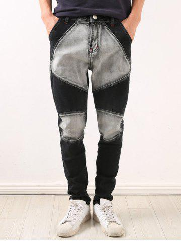Fashion Zipper Fly Low-Slung Crotch Bleach Wash Splicing Jeans