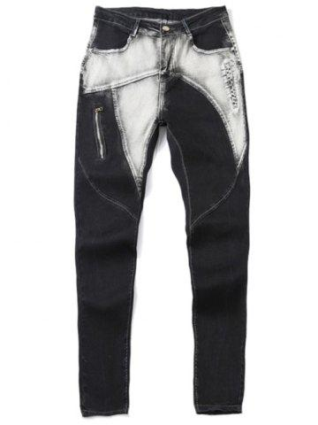 Unique Zipper Fly Low-Slung Crotch Bleach Wash Spliced Jeans BLACK GREY 34