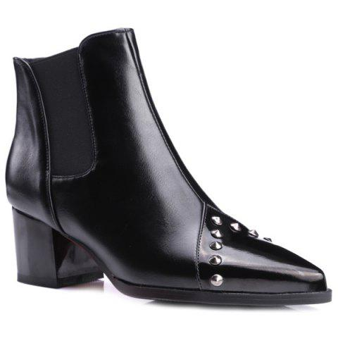 Pointed Toe Rivet Chunky Heel Ankle Boots - Black - 37