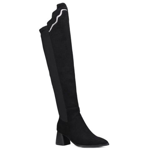 Unique Pointed Toe Splicing Chunky Heel Boots BLACK 39