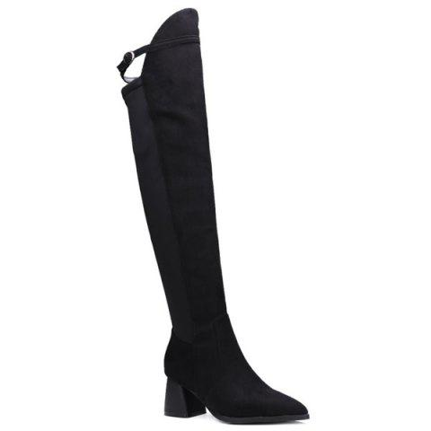 Latest Buckle Strap Pointed Toe Knee-High Boots BLACK 39