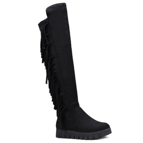 Suede Fringe Platform Knee-High Boots - Black - 38