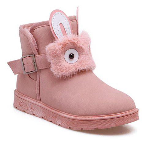 Affordable Buckle Strap Furry Rabbit Snow Boots PINK 39