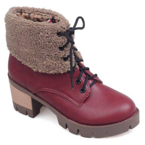 Discount Lace-Up Fuzzy Chunky Heel Short Boots RED 38