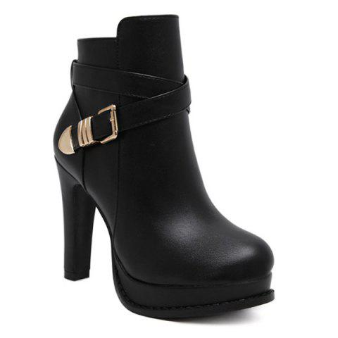 Shops Chunky Heel Platform Buckle Strap Ankle Boots
