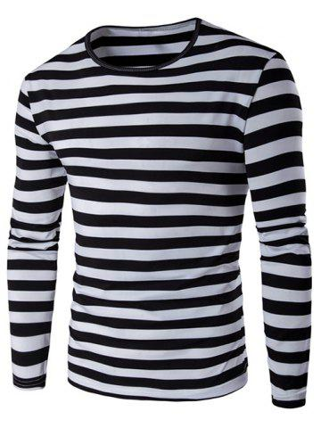 Chic Long Sleeve Round Neck Striped T-Shirt