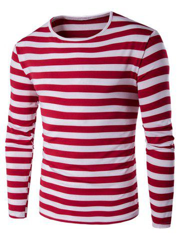 Long Sleeve Round Neck Striped T-Shirt - RED 5XL