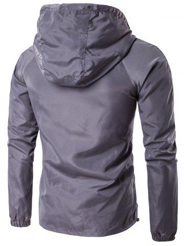 Fashion Hooded Drawstring Design Zip-Up Jacket - L GRAY Mobile