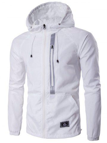 Trendy Hooded Drawstring Design Zip-Up Jacket - 2XL WHITE Mobile