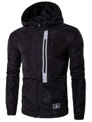 Hooded Drawstring Conception Veste Zip-Up