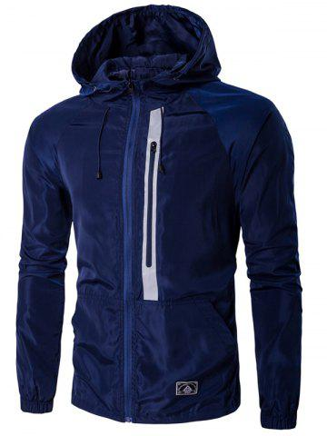Hooded Drawstring design Veste Zip-Up