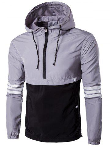 Outfit Hooded Drawstring Design Half-Zip Varsity Stripe Jacket - L GRAY Mobile