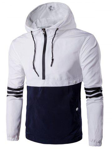 Hooded Drawstring Design Demi-Zip Varsity Stripe Jacket