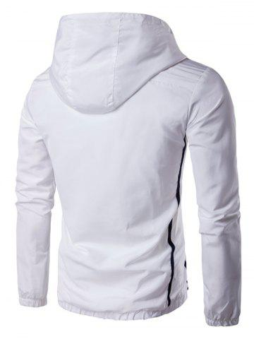 Buy Hooded Striped Design Zip-Up Plus Size Jacket - L WHITE Mobile