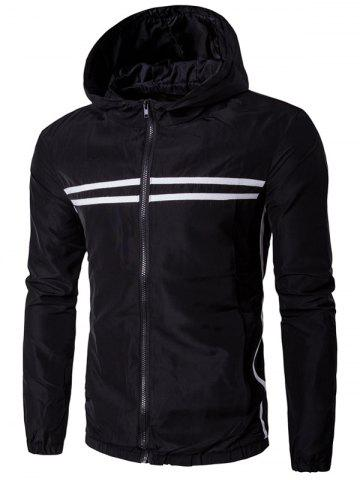 Outfit Hooded Striped Design Zip-Up Plus Size Jacket - 5XL BLACK Mobile