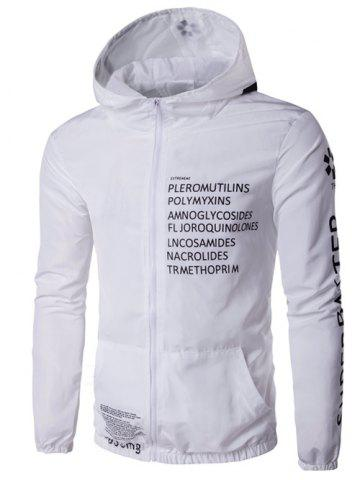 Unique Hooded Zip-Up Plus Size Graphic Print Jacket - XL WHITE Mobile