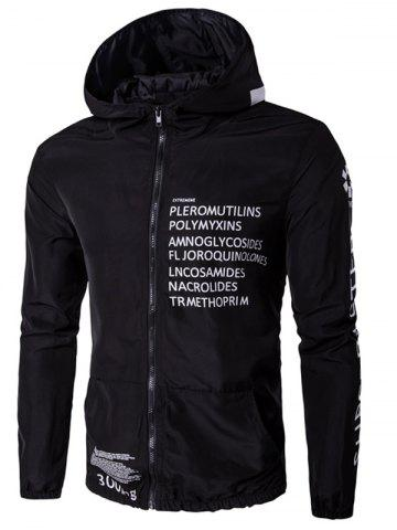 New Hooded Zip-Up Plus Size Graphic Print Jacket - 4XL BLACK Mobile
