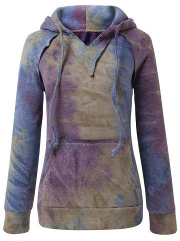 Outfit Ombre Topstitched Pocket Design Hoodie - 2XL BLUE Mobile