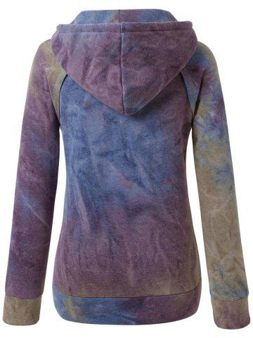 Fancy Ombre Topstitched Pocket Design Hoodie - BLUE M Mobile