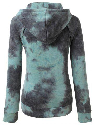 Trendy Ombre Topstitched Pocket Design Hoodie - 2XL ICE BLUE Mobile