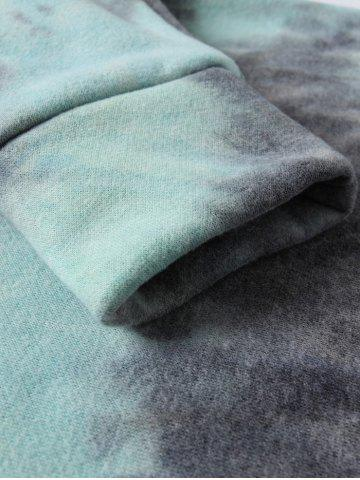 Discount Ombre Topstitched Pocket Design Hoodie - 2XL ICE BLUE Mobile
