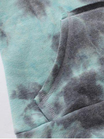 Online Ombre Topstitched Pocket Design Hoodie - 2XL ICE BLUE Mobile