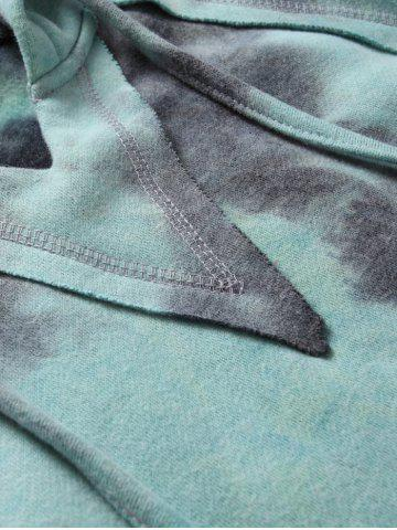 Sale Ombre Topstitched Pocket Design Hoodie - 2XL ICE BLUE Mobile