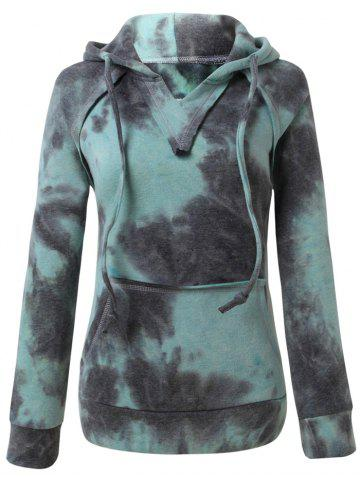 Trendy Ombre Topstitched Pocket Design Hoodie - ICE BLUE XL Mobile