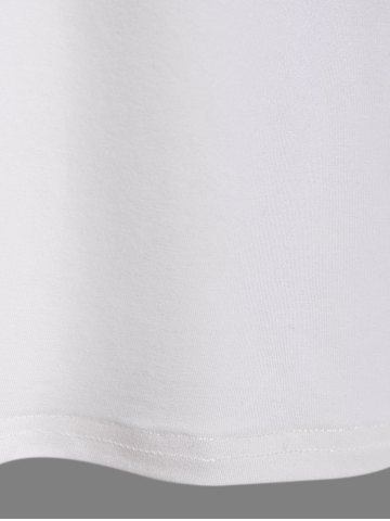 Affordable Striped Patched Raglan Sleeve T-Shirt - L CRYSTAL CREAM Mobile