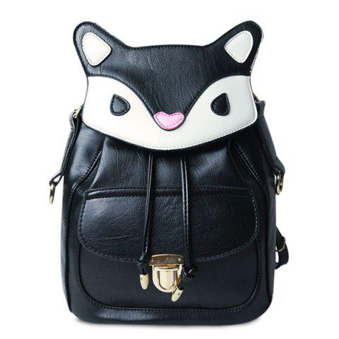 Shop Cartoon Color Block PU Leather Backpack