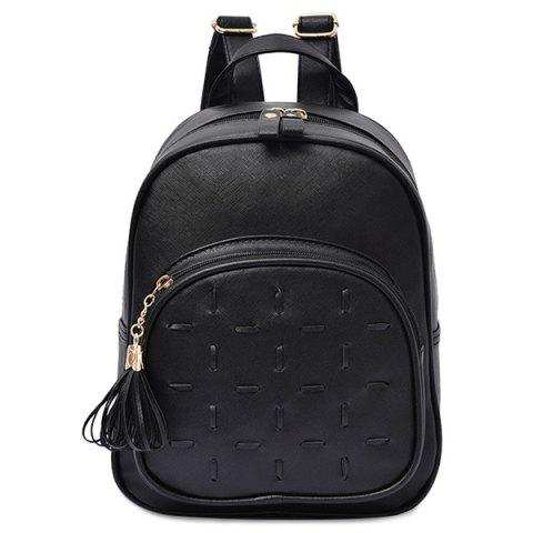 Sale Stitching PU Leather Tassel Backpack