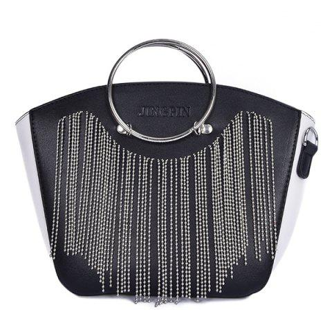 Chic Letter Embossed Metal Ring Fringe Handbag
