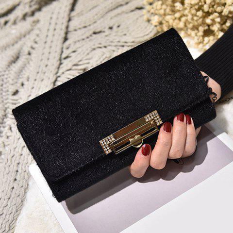Outfit Fuzzy Metal Clutch Wallet BLACK