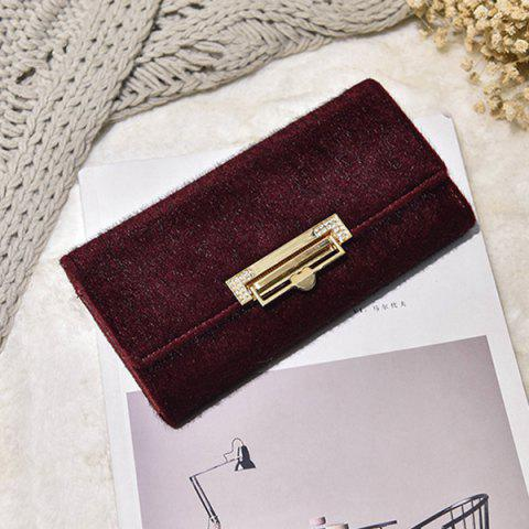 Outfits Fuzzy Metal Clutch Wallet - WINE RED  Mobile