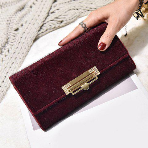 Online Fuzzy Metal Clutch Wallet - WINE RED  Mobile