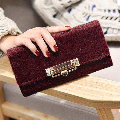 Latest Fuzzy Metal Clutch Wallet - WINE RED  Mobile