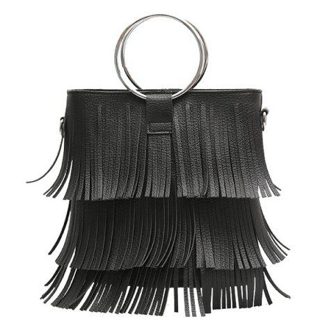 Latest Metal Ring PU Leather Multi Fringe Handbag