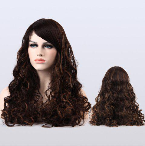 Hot Long Highlight Shaggy Curly Side Bang Synthetic Wig