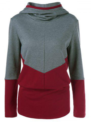 Outfit Color Block Spliced Hoodie GRAY AND RED XL