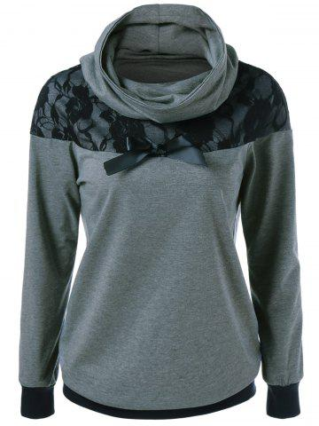 Cheap Lace Patchwork Bowknot Embellished Sweatshirt BLACK AND GREY XL